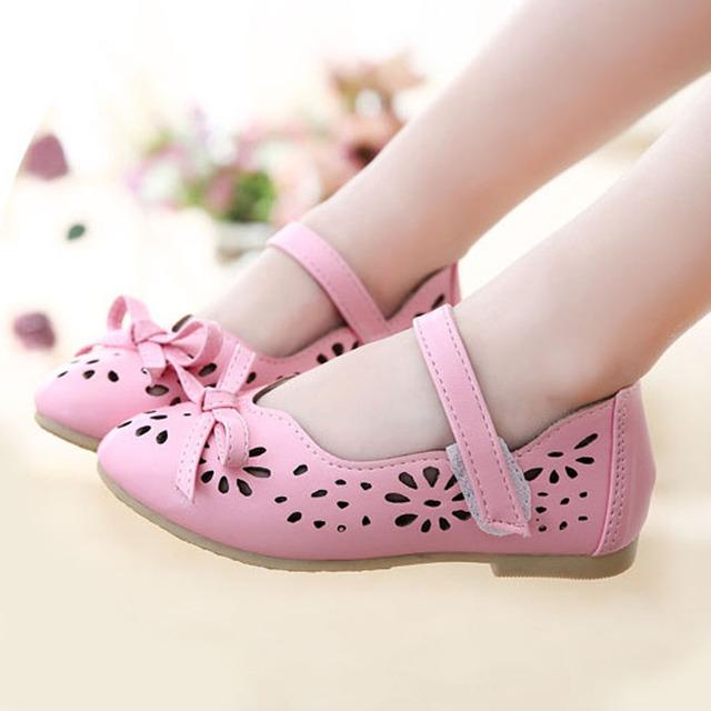 2017 Ahueca Hacia Fuera los Niños Chicas Zapatos de Correa de Tobillo Littler Niñas Zapatos con Bot Precios Tie Verano Calza el Tamaño 8.5-10