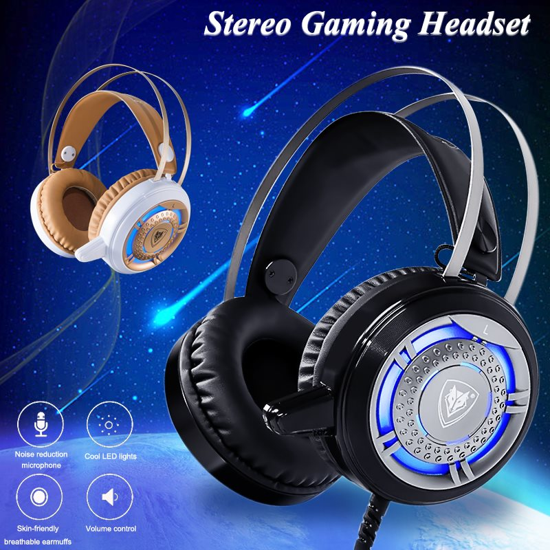 7 color LED Lights Original NB01 Bass Stereo Surround Headband headphones Gaming Headset with Microphone For computer PC Gamer gaming headset led light glow noise cancealing pc gamer super bass headband headphones with microphone for computer pc