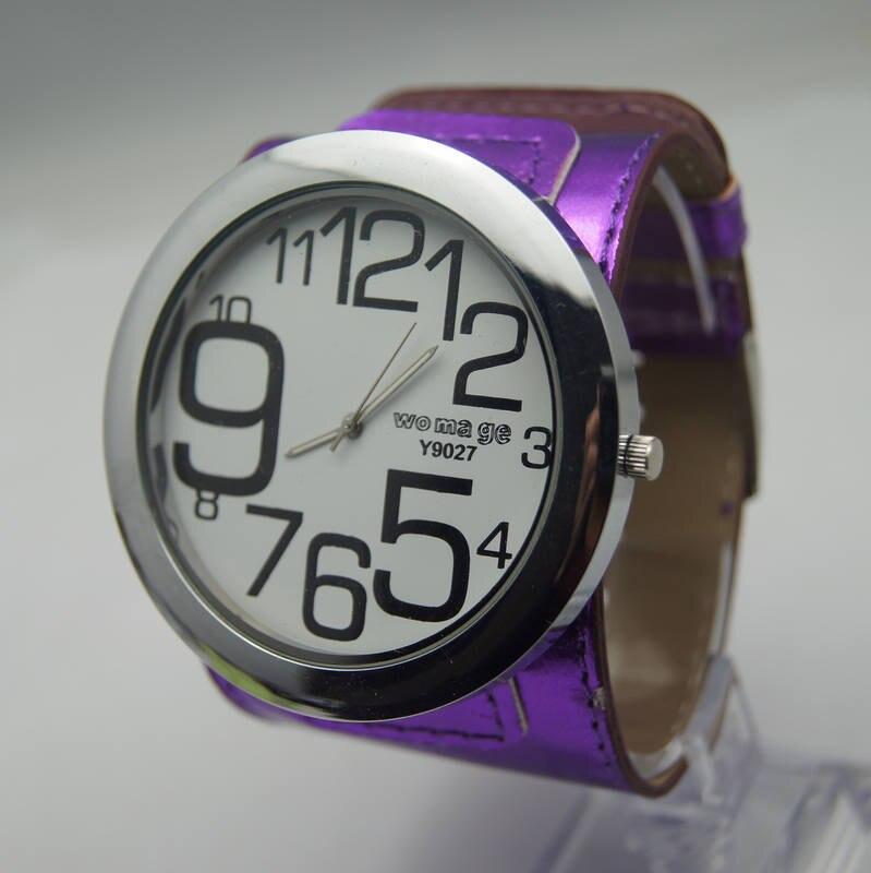 Высококачественные Женские брендовые модные большие часы 8 цветов с кожаным ремешком, военные кварцевые наручные часы с большим круглым циферблатом для женщин и мужчин - Цвет: Фиолетовый