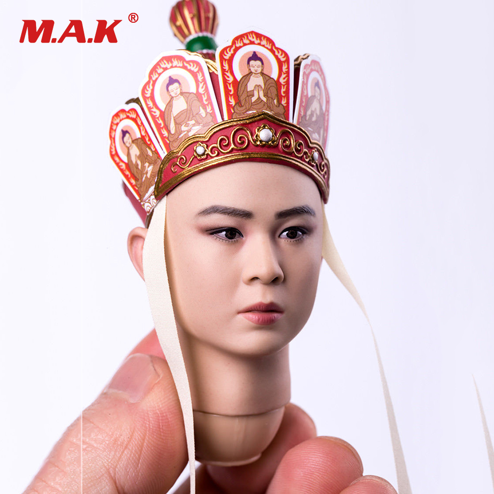 DIY Male Head Model Toys 1:6 Scale Journey to the West Tang Monk Man Head Carving with Neck Toy for 12'' Man Action Figure Body 1 6 scale male king leonidas calm face head for 12 male head carving model fit 12 action figure body doll toys accessories