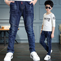 2017 Spring New Baby Boy Jean Pants Solid Color Patchwork Kid Jeans Elastic Waist Chidlren Denim Trousers Bottoms