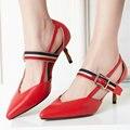 Aiweiyi 2017 mujer zapatos de correa de tobillo sexy tacones altos bombean los zapatos de cuero genuino del dedo del pie puntiagudo plataforma de las mujeres zapatos de las señoras bombas