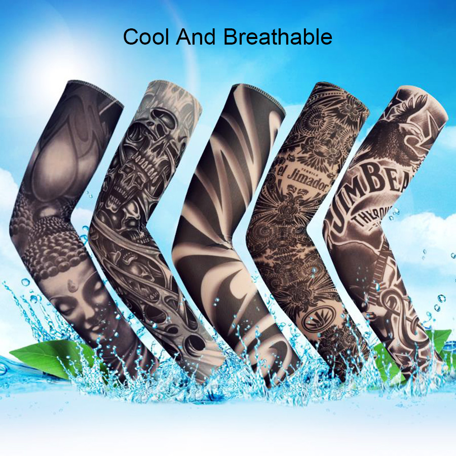 2019 New Tattoo Sleeve Gloves Arm Warmers Sun Protection Gloves Men Fake Tattoo Sleeves Body Warmer Men Epautlet Shirt Tatoo