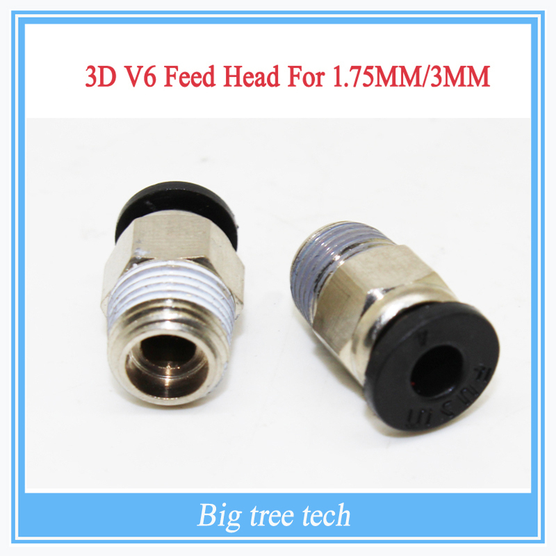 3D Printer 3D V6 J-head Pneumatic Connectors PC4-01 1.75mm PTFE Tube quick coupler, j-head Fittings Reprap Hotend Fit