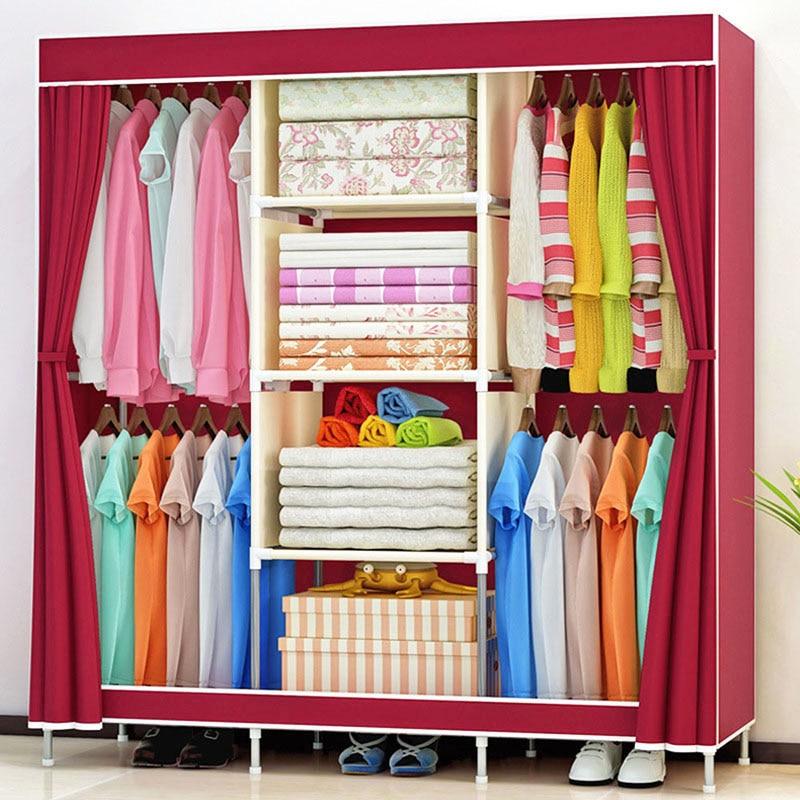 Belle et généreuse armoire pliante garde-robe anti-poussière renforcée armoire de rangement en tissu de grande capacité meubles de maison
