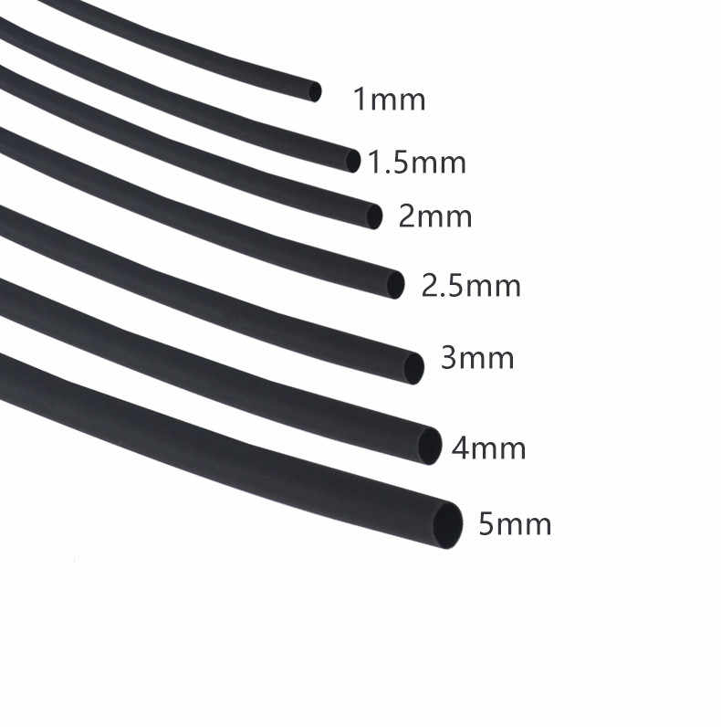 Diameter1mm 1.5mm 2mm 2.5mm 3mm 4mm 5mm 6mmLength 5M Heat Shrink Tubing Shrinkable Tube Black Wire Wrap gaine thermo
