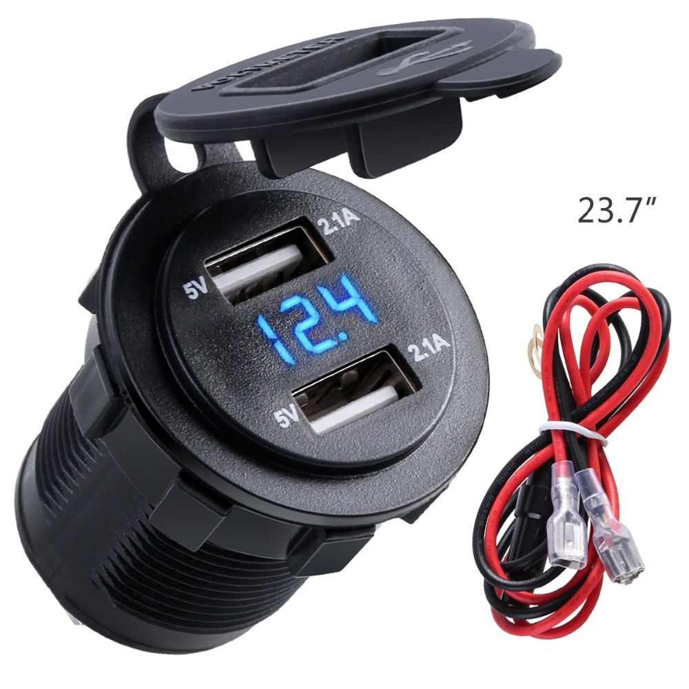 Dual USB Charger Socket Waterproof Power Outlet 2.1A 2.1A with Voltmeter & Wire in-line 10A Fuse for 12-24V Car Boat Motorcycle