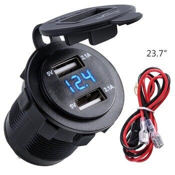 Dual USB Charger ซ็อกเก็ตกันน้ำ Power Outlet 2.1A 2.1A โวลต์มิเตอร์ & สายไฟสาย 10A ฟิวส์สำหรับ 12-24 V รถรถจักรยานยนต์เรือ
