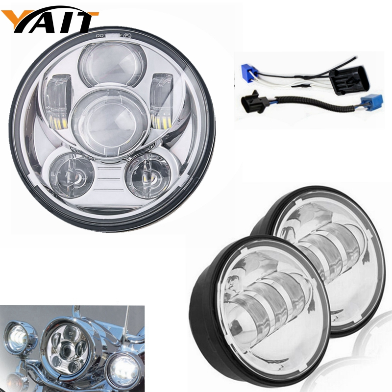 1set 7 inch Round Motorcycle LED Headlight For Harley DRL+2pcs 4.5 inch led fog light for Harley Davison Headlight & Fog Light 7 inch motorcycles headlight for harley davison choppers