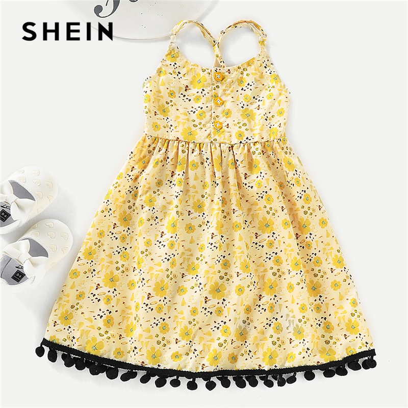 SHEIN Kiddie Yellow Floral Print Pom Pom Girls Cute Spaghetti Strap Dress 2019 Summer Sleeveless Button High Waist A Line Dress sexy pointed toe new fashion transparent pvc fringes shoes closed toe high heels women pumps mixed color weding party sandals
