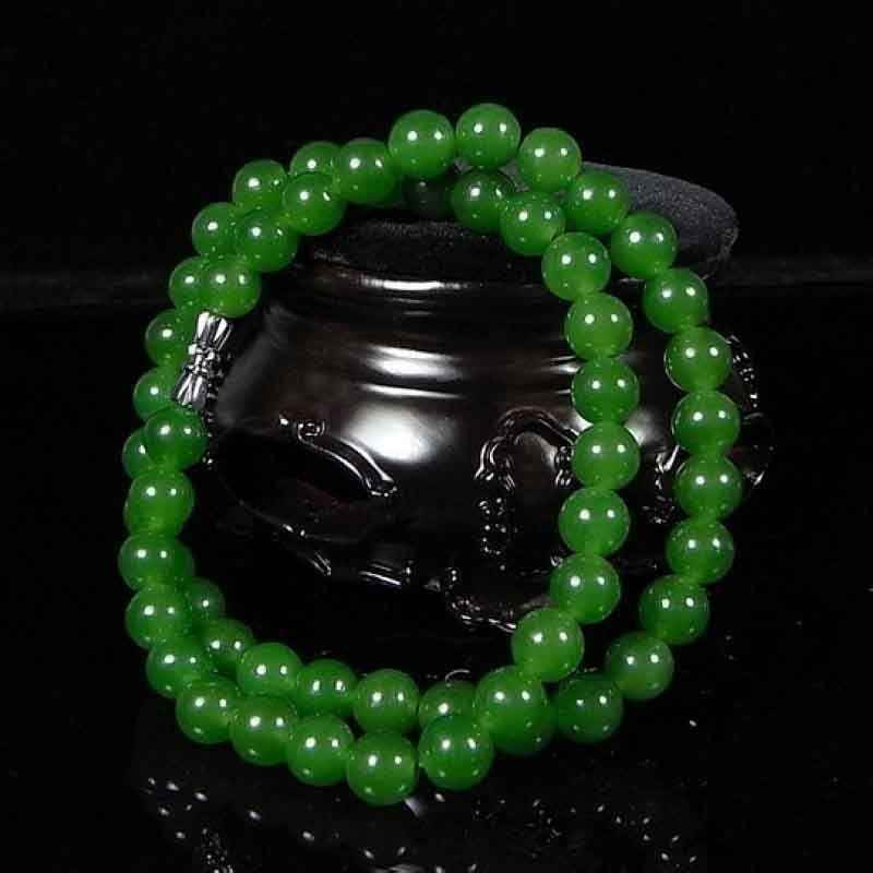 6-8mm Beautiful Chinese Handcraft 100% Natural Jade Green Jade Necklaces