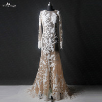 RSW1138 Real Pictures Yiaibridal See Through Transparent Nude Tulle Ivory Leaves Pattern Lace Mermaid Wedding Dress Long Sleeve