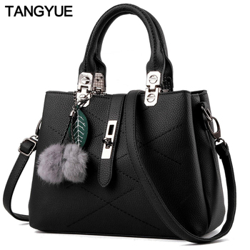 TANGYUE Leather Bags Women's Shoulder Bag Black Handbags Small Soft Fashion PU Casual Hand Bag for Grils Crossbody sac a main