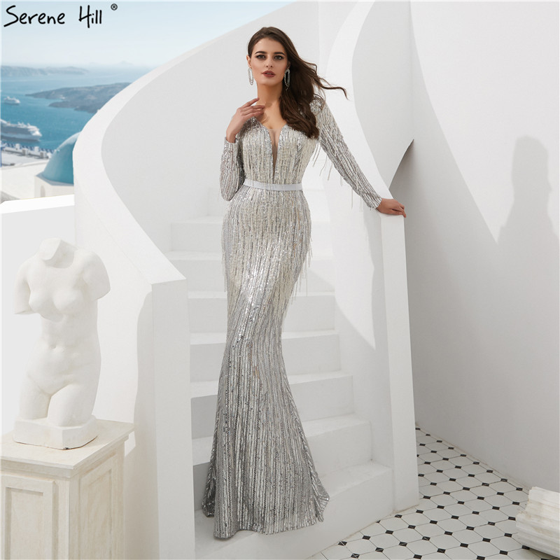 40249ed41c5f Shaking Mermaid Fashion Elegant New Evening Dresses 2019 Long Sleeves  Beading Formal Evening Gowns Serene Hill LA6544 ~ Free Delivery July 2019