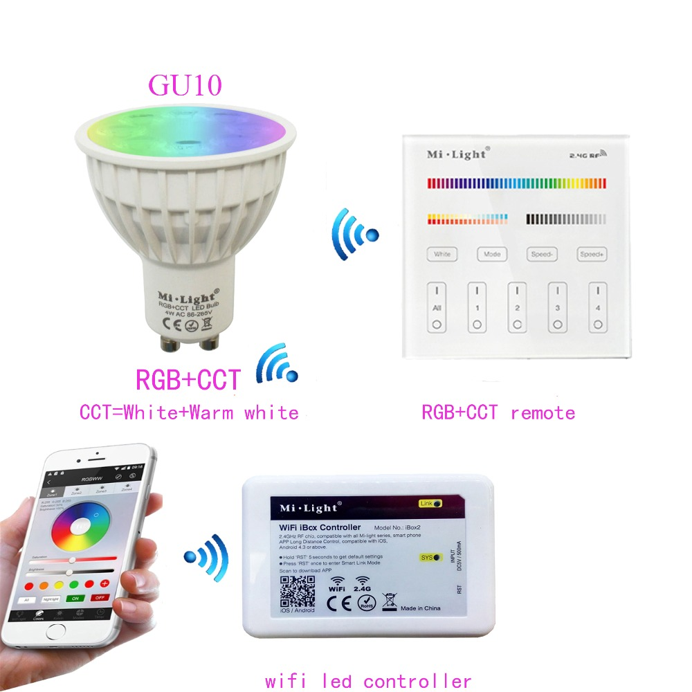 Mi.light GU10 4W RGB+CCT Led Bulb Spotlight AC85-265V+2.4G WIFI Ibox2 Led Controller+B4/T4 RGB+CCT Remote Controller comfast full gigabit core gateway ac gateway controller mt7621 wifi project manager with 4 1000mbps wan lan port 880mhz cf ac200