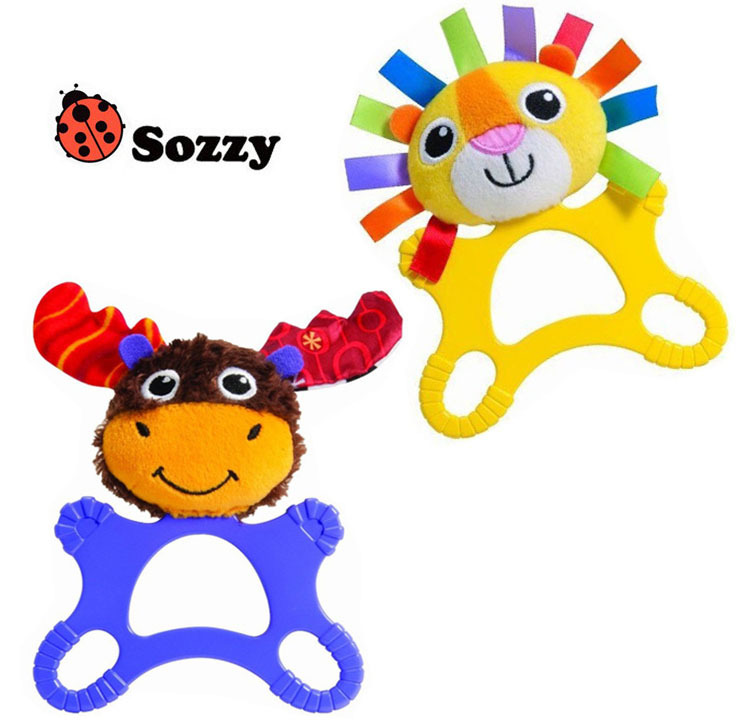 Hot Sale Sozzy 15* 20cm Baby Rattle Teether Stuffed Plush Doll Toys Teeth Toy Lion Deer Animal Education Puzzle Infant Puppet