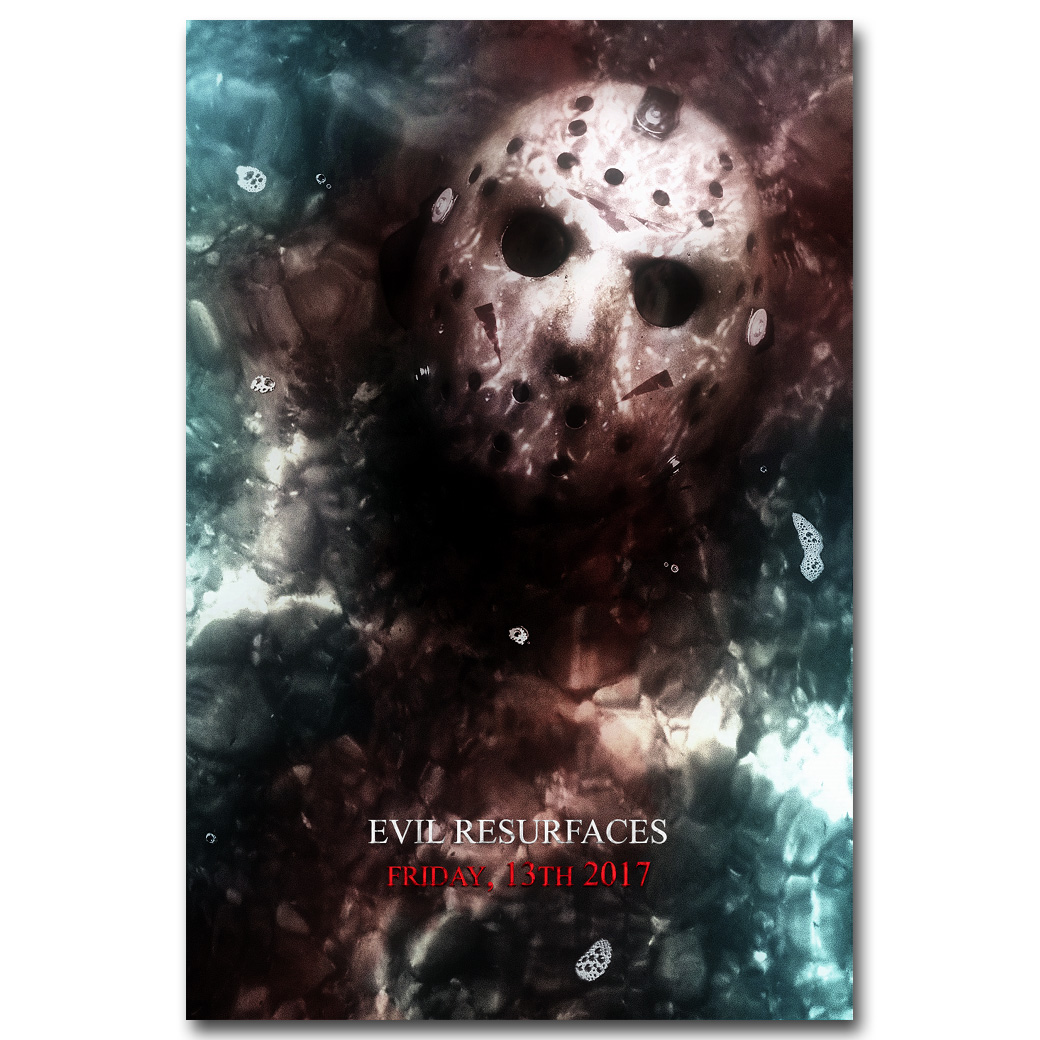 Friday The 13th Art Silk Poster Print 13x20 24x36 inch Jason Voorhees Classic Horror Movie Picture for Room Wall Decor 002
