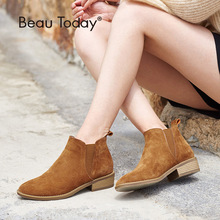 BeauToday Chelsea Boots Women Pig Suede Ankle Length Boot Genuine Leather Round Toe New Autumn Winter Lady Shoes with Box 03232