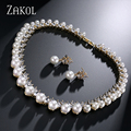 ZAKOL New Arrival Luxury Pure Imitation Pearl Bridal Wedding Jewelry Sets with Top Quality AAA Cubic Zircon FSSP024