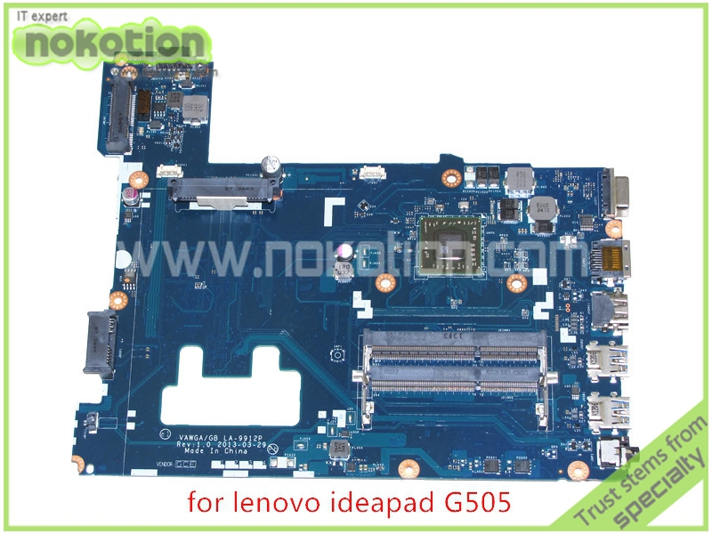 NOKOTION Mainboard VAWGA GB LA-9912P Rev 1.0 for lenovo ideapad G505 15'' laptop motherboard DDR3 nokotion laptop motherboard for lenovo g570 la 675ap mainboard intel hp65 ddr3 socket pga989