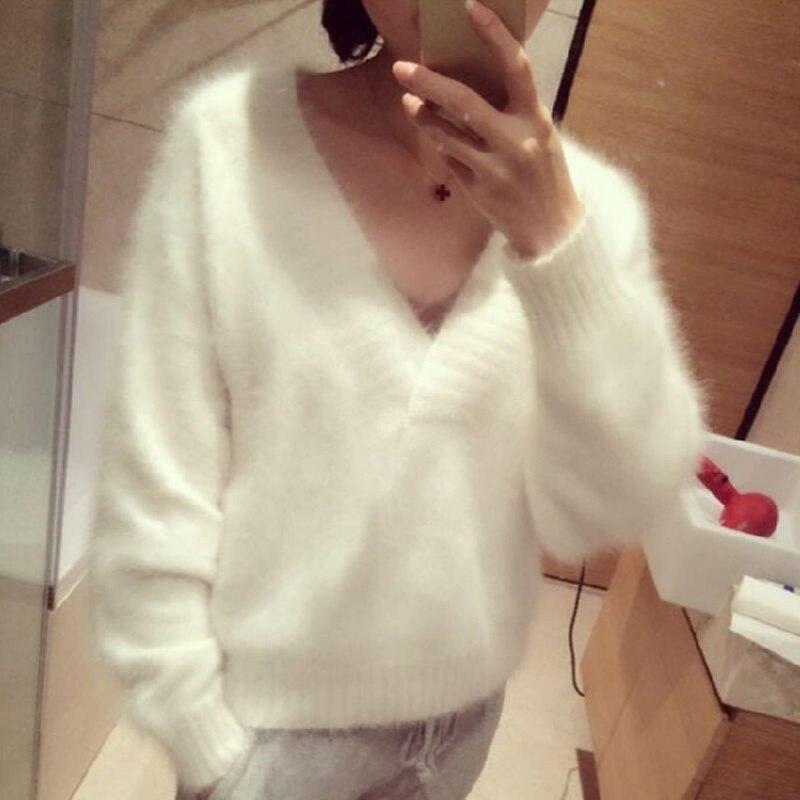 2019 New Fashion Women Fluffy Mink Cashmere Sweater V neck Female Pure color Mink Cashmere Sweater