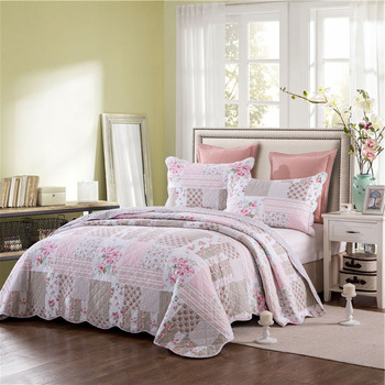 Quality Cotton Bedspread Quilt Set 3pcs Quilted Coverlet Floral Print Quilts Bed Covers Pillowcase King Size bedding Blanket