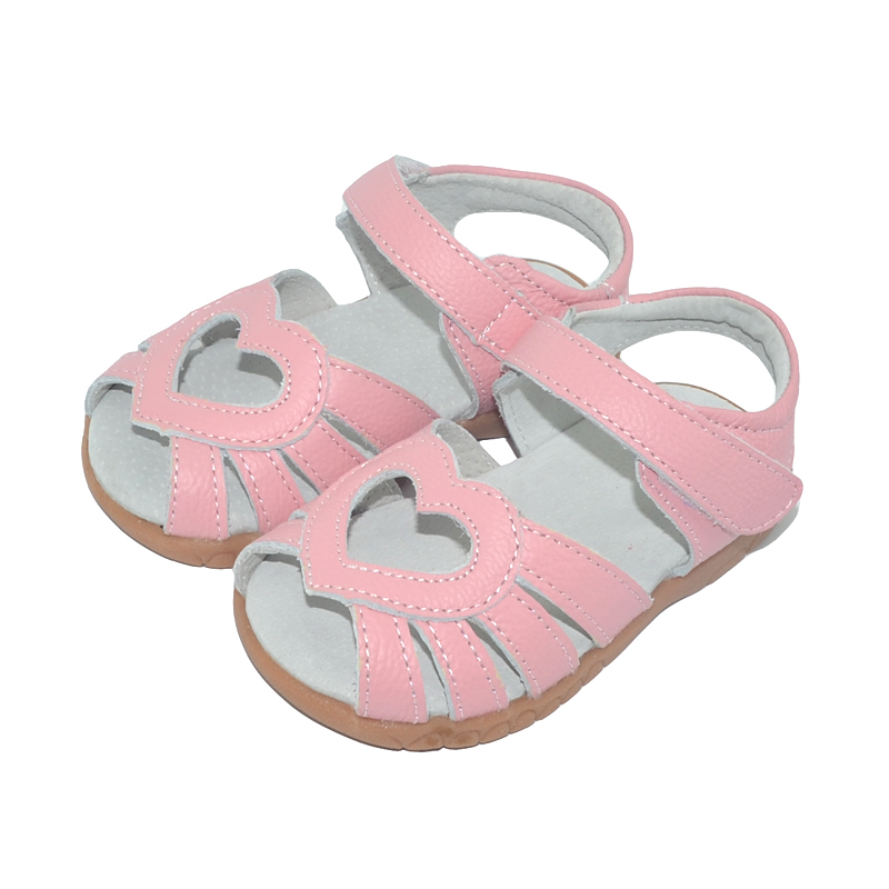 2019 new genuine leather girls sandals white summer walker shoes with heart cutouts antislip sole kids toddler 12 3 18 3 SandQ in Sandals from Mother Kids
