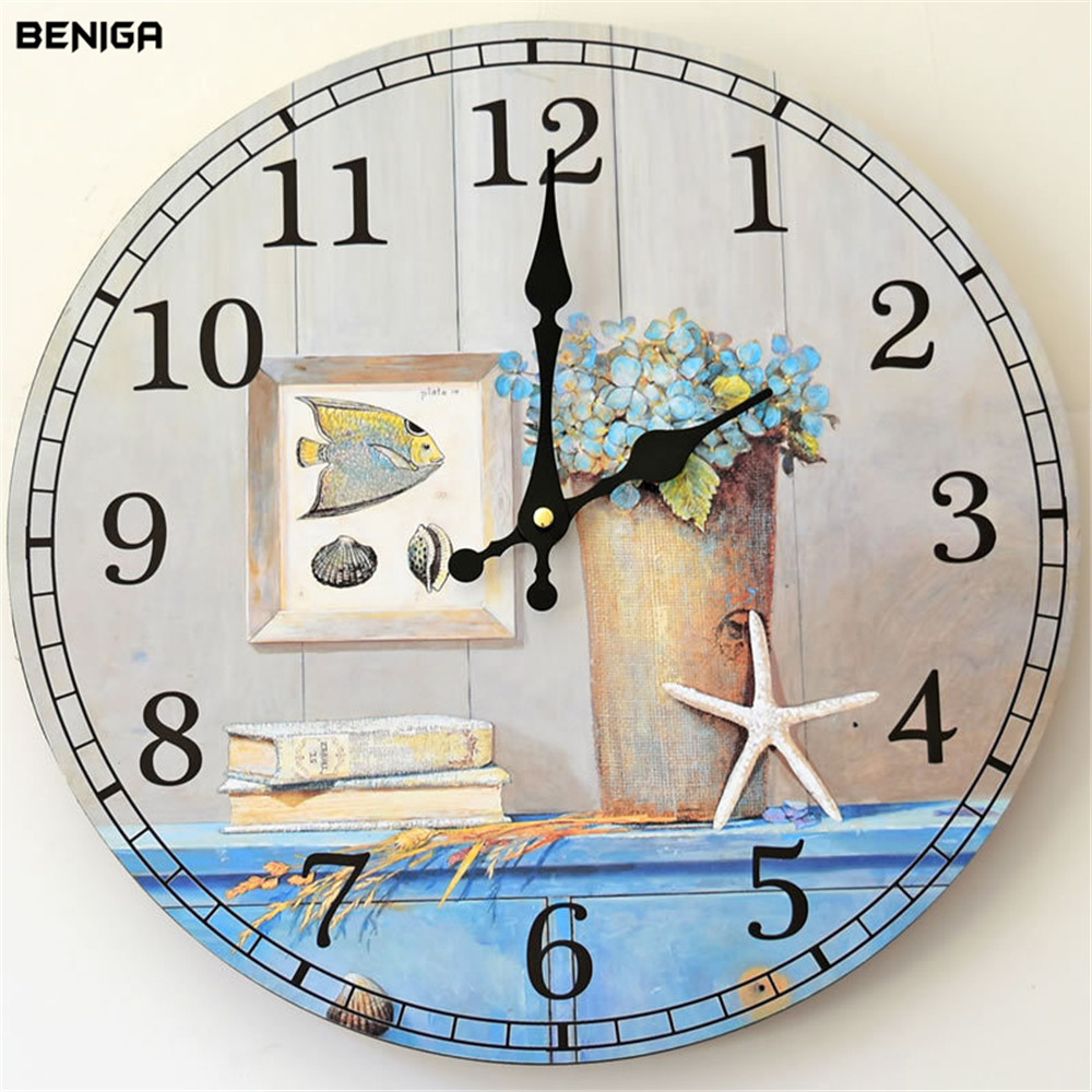 35x35cm Mediterranean Flower Wall Clock European Graceful Wood Round Simple Silently Needle Mute Quartz Wall Clock for Decor