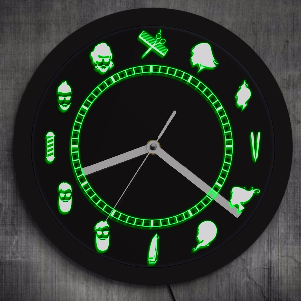 US $32 0 |Barber Shop Tools LED Lighted Wall Clock Hair Beauty Salon  Hairdresser Hanging Barbershop LED Neon Clock Barber Room Wall Sign-in Wall