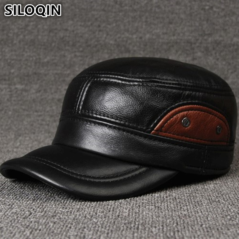 SILOQIN Genuine Leather Hats Men's Flat Cap Brands Baseball Caps For Men Adjustable Size Cowhide Leather Hat Earmuffs Dad's Cap