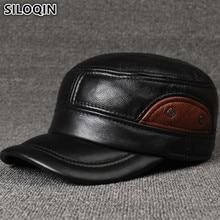 SILOQIN Genuine Leather Hats Men's Flat Cap Brands Baseball Caps For Men Adjustable Size Cowhide Leather Hat Earmuffs Dad's Cap acqua di gio pour homme туалетная вода 30мл
