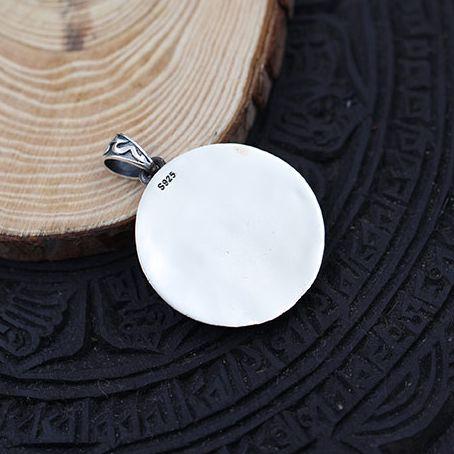 Colgante de plata de ley 925 Vintage con círculo solar - 5