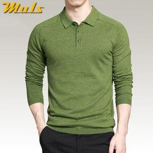 Image 1 - 8 色メンズポロセーターシンプルなスタイルの綿ニット長袖プルオーバービッグサイズ 3XL 4XL 春秋 Muls ブランド MS16005