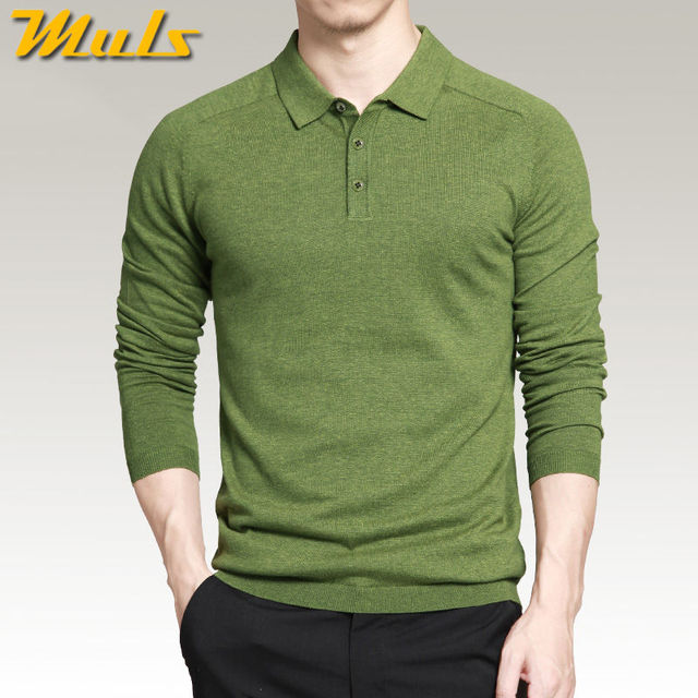 8 色メンズポロセーターシンプルなスタイルの綿ニット長袖プルオーバービッグサイズ 3XL 4XL 春秋 Muls ブランド MS16005