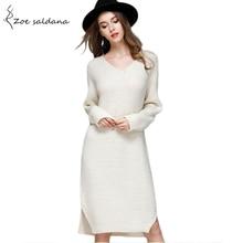 Zoe Saldana 2018 Women Knitted Dress Autumn V neck Long Sleeve Oversize Dresses Elastic Knee length