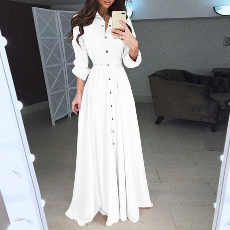 6162b1a8375 ... Элегантное Длинное Платье-рубашка модные длинные рукава отложной  шнуровка на груди платье макси пол Длина ...