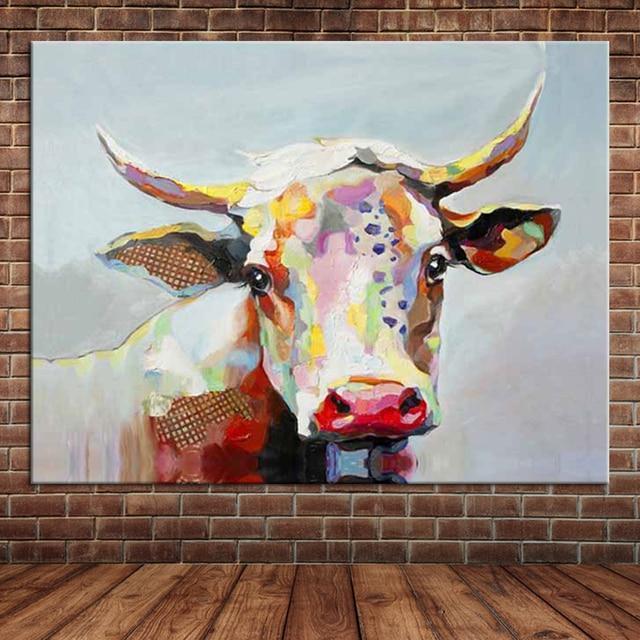 Grande Canvas Wall Art Pintados À Mão Pintura A Óleo Animal Bonito Colorido  Vaca Home Decor