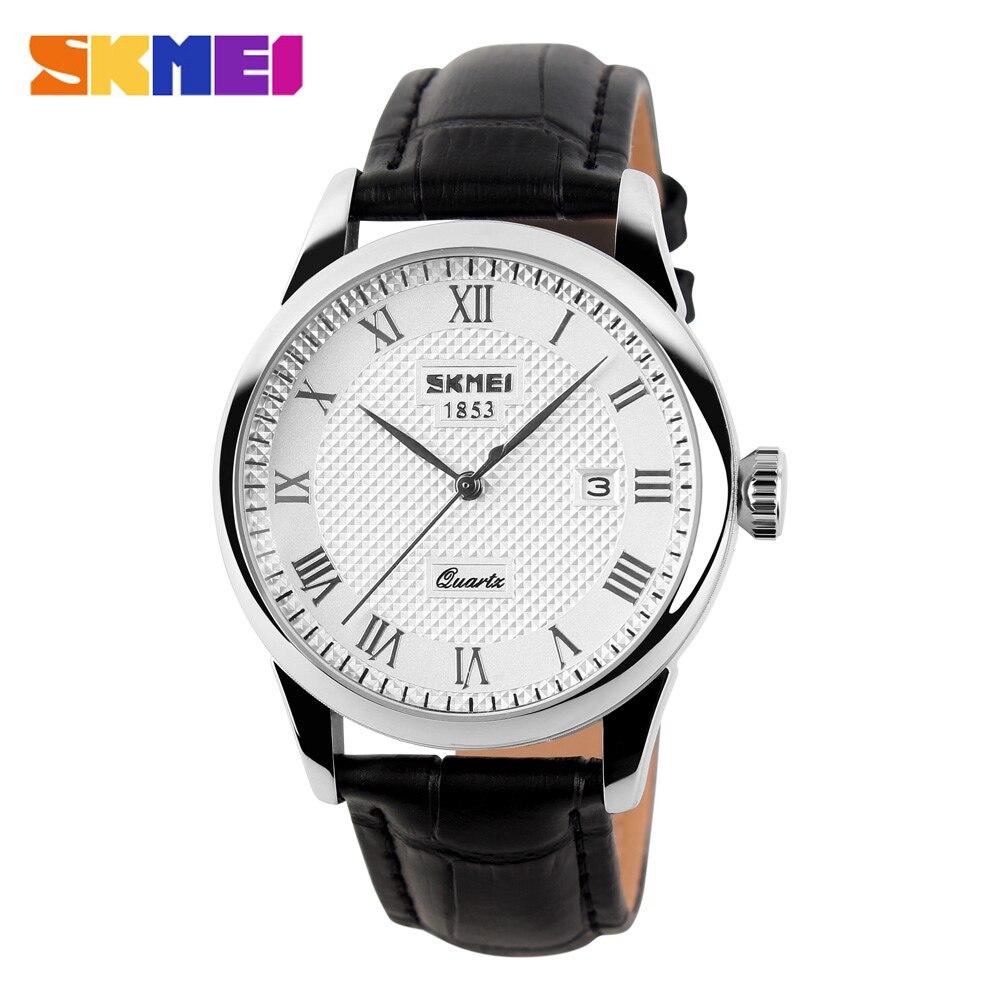 SKMEI Business Mens Watches Top Brand Luxury Leather Strap Watch Men 3Bar Waterproof Quartz Wristwatches Relogio Masculino 9058