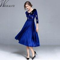 Wmwmnu 2017 Autumn Winter Fashion Women Mid Long Dress Velvet Embroidery A Line Dress Elegant Casual