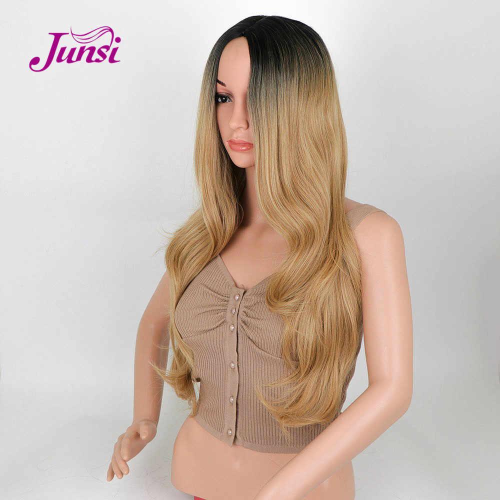 JUNSI Dourada Ombre Ondulado Peruca Longa Peruca Sintética para As Mulheres Platina Cabelo Dourado Peruca de Alta Densidade