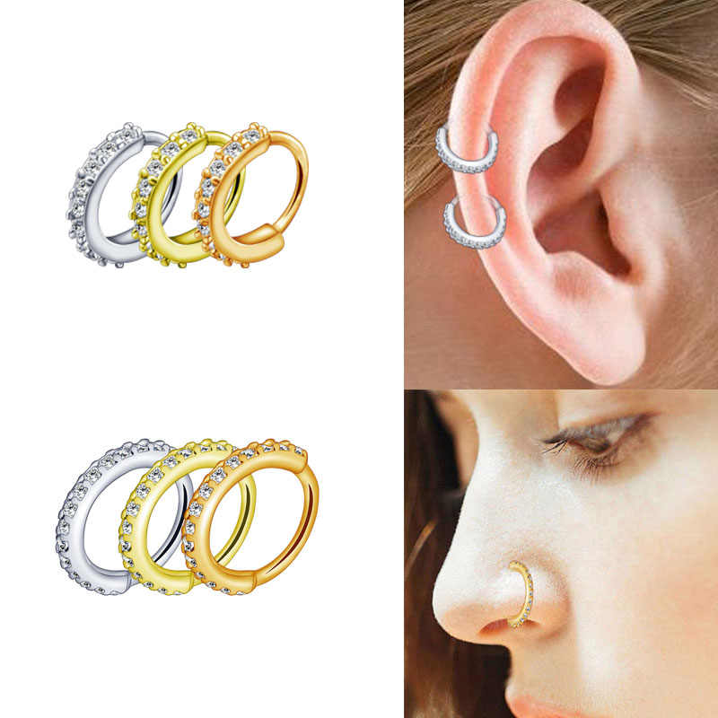 b3d06cb18 High Quality Nose Rings Septum Jewelry Cartilage Earrings Zircon Crystal  Opening Hoop Silver Rose Gold 6mm