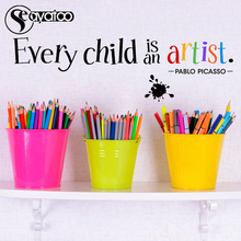 Every Child Is An Artist Pablo Picasso Quote Vinyl Wall Sticker Decal Kids Room Words Letters Stickers 17x102cm