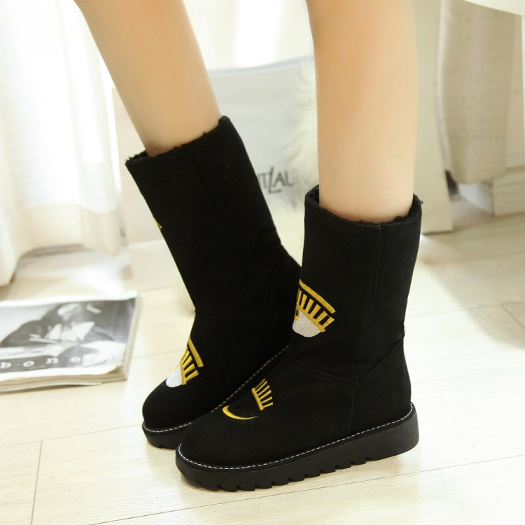 ФОТО New arrival 2016 flat thermal female boots plus size boots 40 41 42 43 student boots free shipping