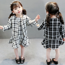 2019 New Autumn Girls Clothes Children Clothing Set Plaid Outfits Long Sleeve Cardigan+Dress Baby Kids Suits 2pcs Girls Sets недорого