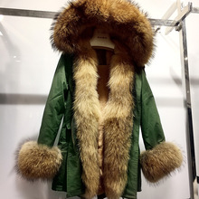 Real Fur Parka Women Coat Genuine Rex Rabbit Fur Lined Parka Coat Autumn Natural Raccoon Fur Collar Hood Winter Jacket Female