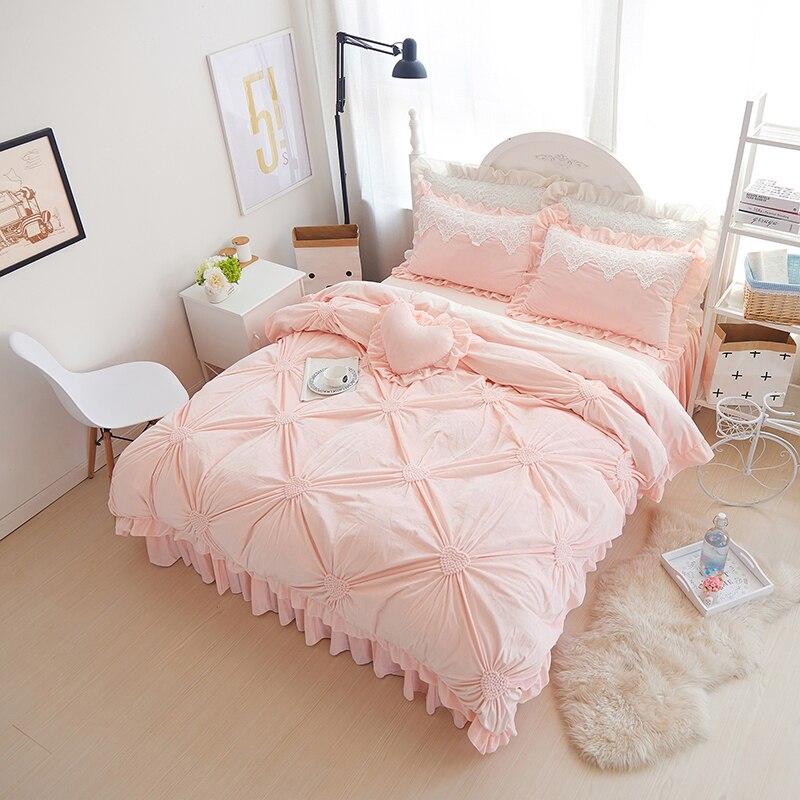 modern princess fleece winter bedding set purple blue pink full queen size duvet cover sets oriental