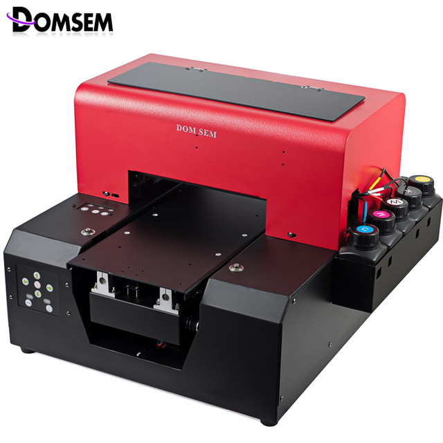 DOMSEM Glass Metal UV Printer A4 Size Flatbed 3D Textured and Raised Printing Plastic Leather PVC Aluminum Copper Coaster Print