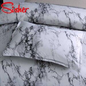 Image 4 - Sisher 현대 대리석 인쇄 침구 세트 화이트 블랙 이불 커버 세트 싱글 더블 퀸 킹 사이즈 침구 이불 침대 시트 없음