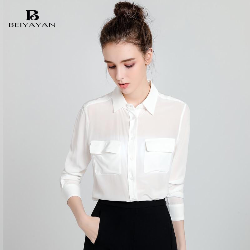 BEIYAYAN Moda Señoras de la Oficina Blusas de Seda de Morera Botones Bolsillos d
