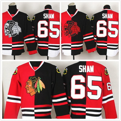 Top Quality men s Chicago Black Hawks jersey  65 Andrew Shaw half and half  ice hockey Jerseys Size M-3XL white Black and gold 4a3cd3db9d4